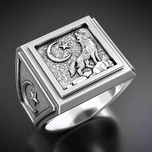 Кольцо серебряное Мусульманское Волк КЦ-100 Б