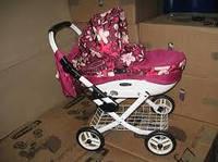 Кукольная коляска детская складывающаяся  LILY TM Adbor (К21, малиновый, цветы новые на малиновом)