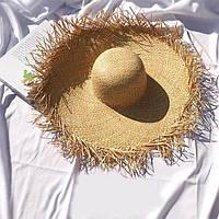 Женская соломенная шляпа с широкими прямыми полями  83mgo239, фото 1
