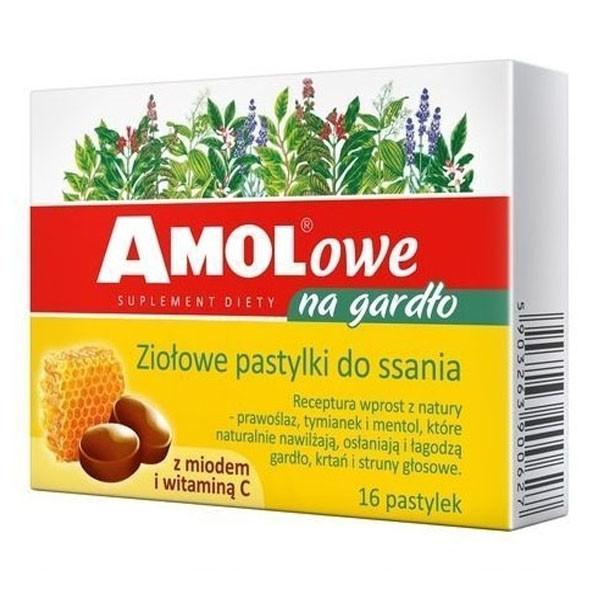 Amolowe леденцы c Алтеем, Тимьяном и Ментолом , медом и витамином С при больном горле 16 шт