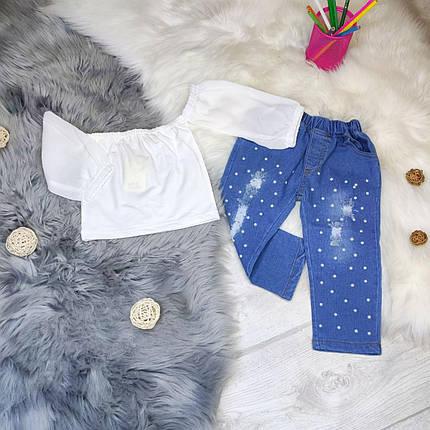 Стильный детский  костюм двойка на девочку  топ +джинсы  2,3,6 лет, фото 2