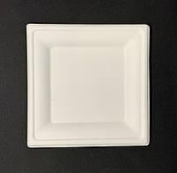 Тарелка одноразовая бумажная 24*24 см белая 125 штук Р10 Сахарный Тростникквадратная