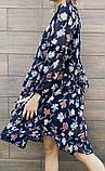 Белое шифоновое платье с цветочным принтом 23-305, фото 5