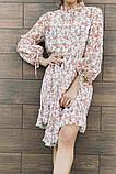 Белое шифоновое платье с цветочным принтом 23-305, фото 4