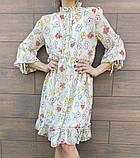 Белое шифоновое платье с цветочным принтом 23-305, фото 3