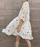 Белое шифоновое платье с цветочным принтом 23-305, фото 6