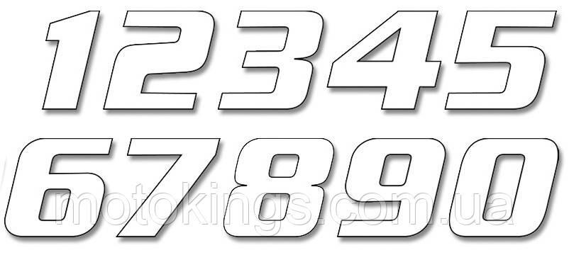 BLACKBIRD ЦИФРЫ НОМЕРНЫЕ 3ШТ. (21X11 см ) PROSTE, ЦВЕТ БЕЛЫЙ NR4 (E5049/10/4)