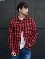Рубашка мужская в клетку Staff black & red