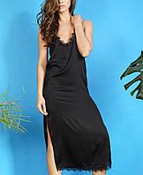 Шелковое женское платье-комбинация с кружевом черного цвета