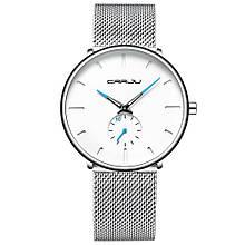 Наручные часы CRRJU 2150 Серебристые с голубой стрелкой (10297-4)
