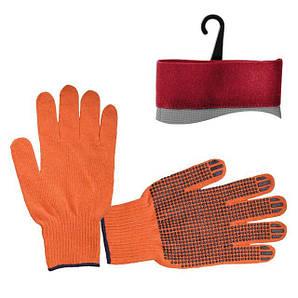 Перчатка х/б трикотаж с точечным покрытием PVC на ладони (оранжевая) INTERTOOL SP-0131