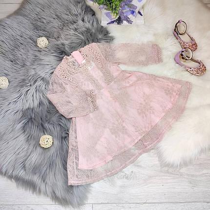 Платье  детское  на девочку  кружевное розовое 2-6 лет, фото 2