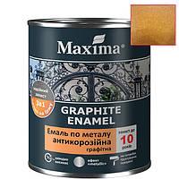 Античная медь краска с металлической стружкой Maxima graphite enamel по металлу 3в1 (0.75л)