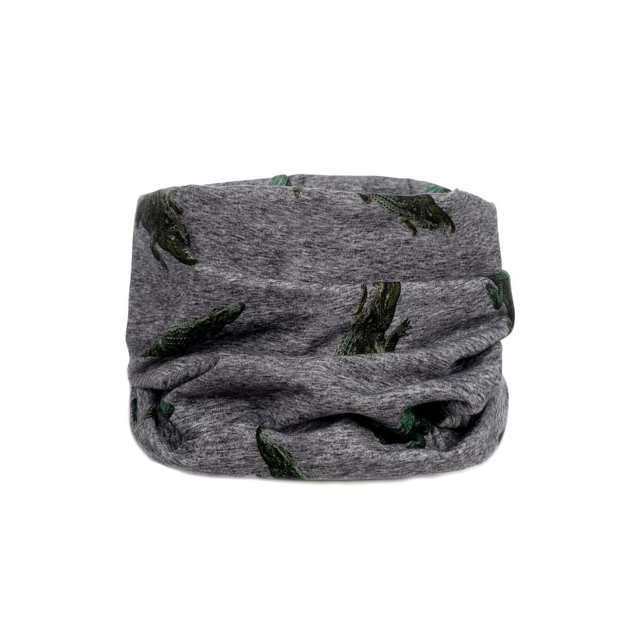Хомут для мальчика с аллигатором - серый  GIAMO   ADB03