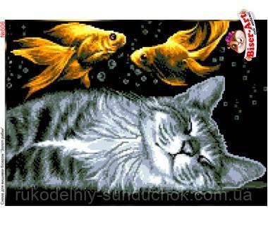 Схема для вишивки бісером (хрестиком) Бисер-Арт Кіт та золоті рибки (506)