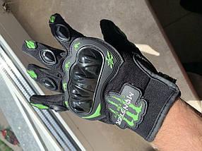Зелёные Защитные мото перчатки с костяшками monster energy мотоперчатки