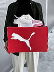 Женские кожаные кроссовки Puma Cali (бело-розовые) 408GL, фото 2