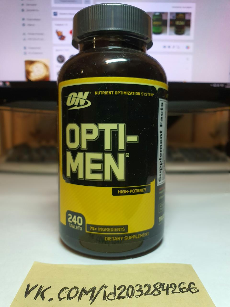 Витамины для мужчин Optimum Nutrition Opti-Men 240 табл оптимум нутришн опти мен