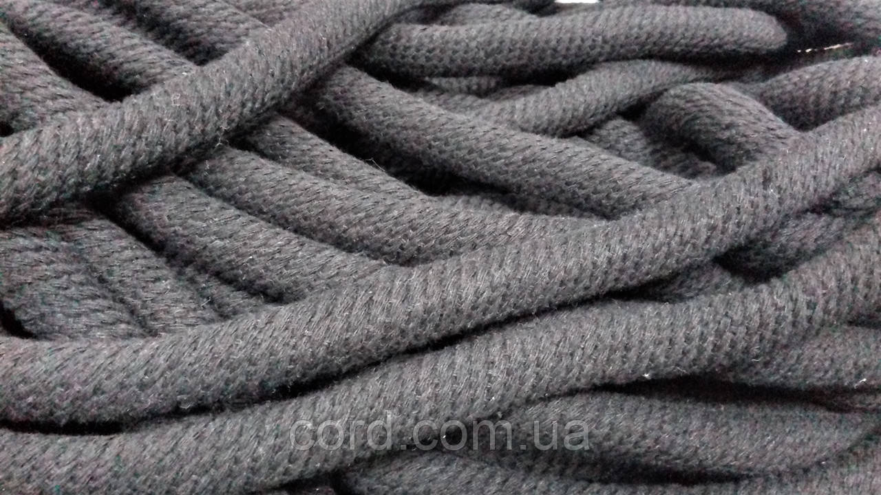 Шнур круглый 15мм ХБ 50м черный