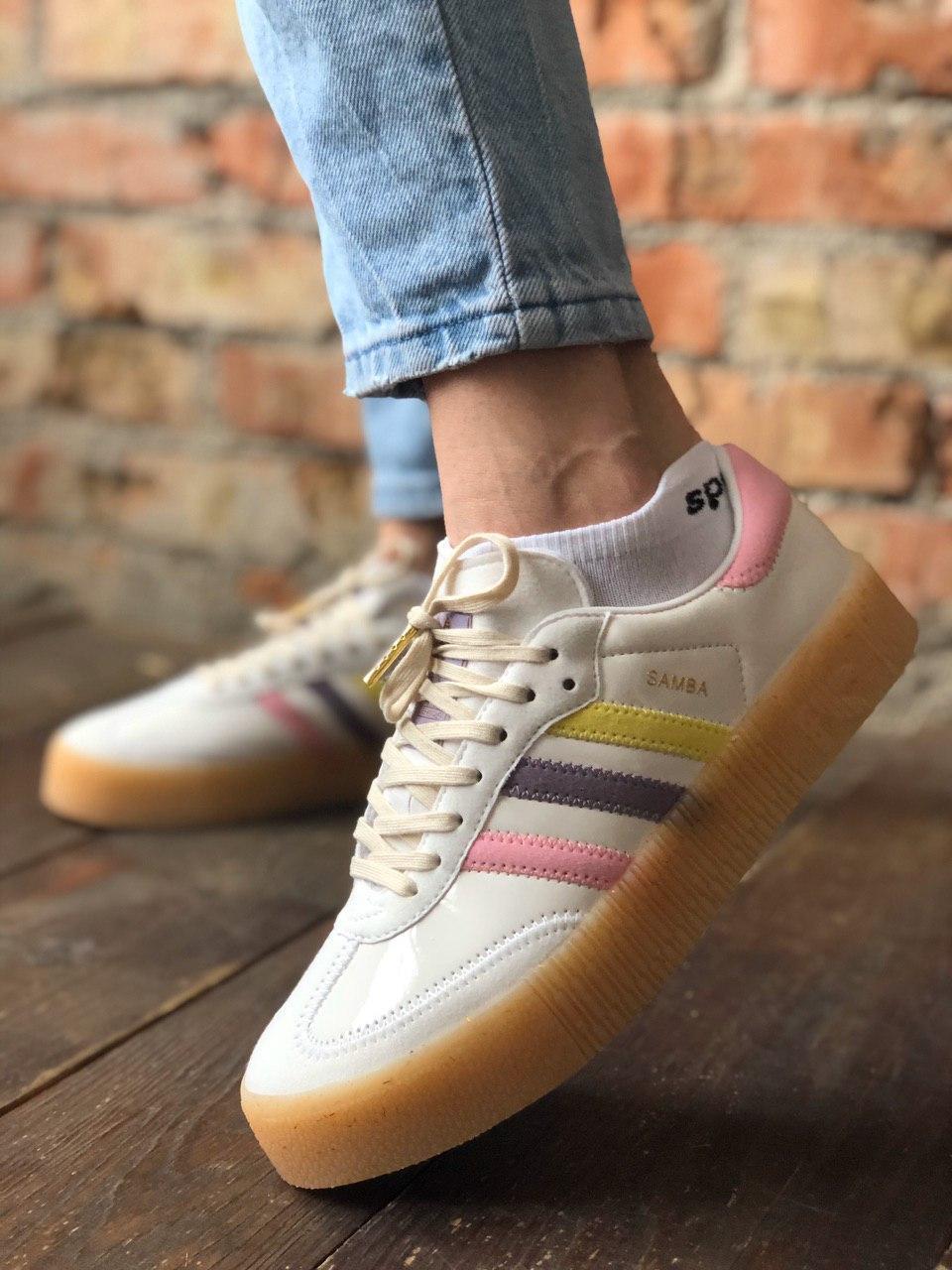 Женские кроссовки Adidas Samba white (Адидас Самба)