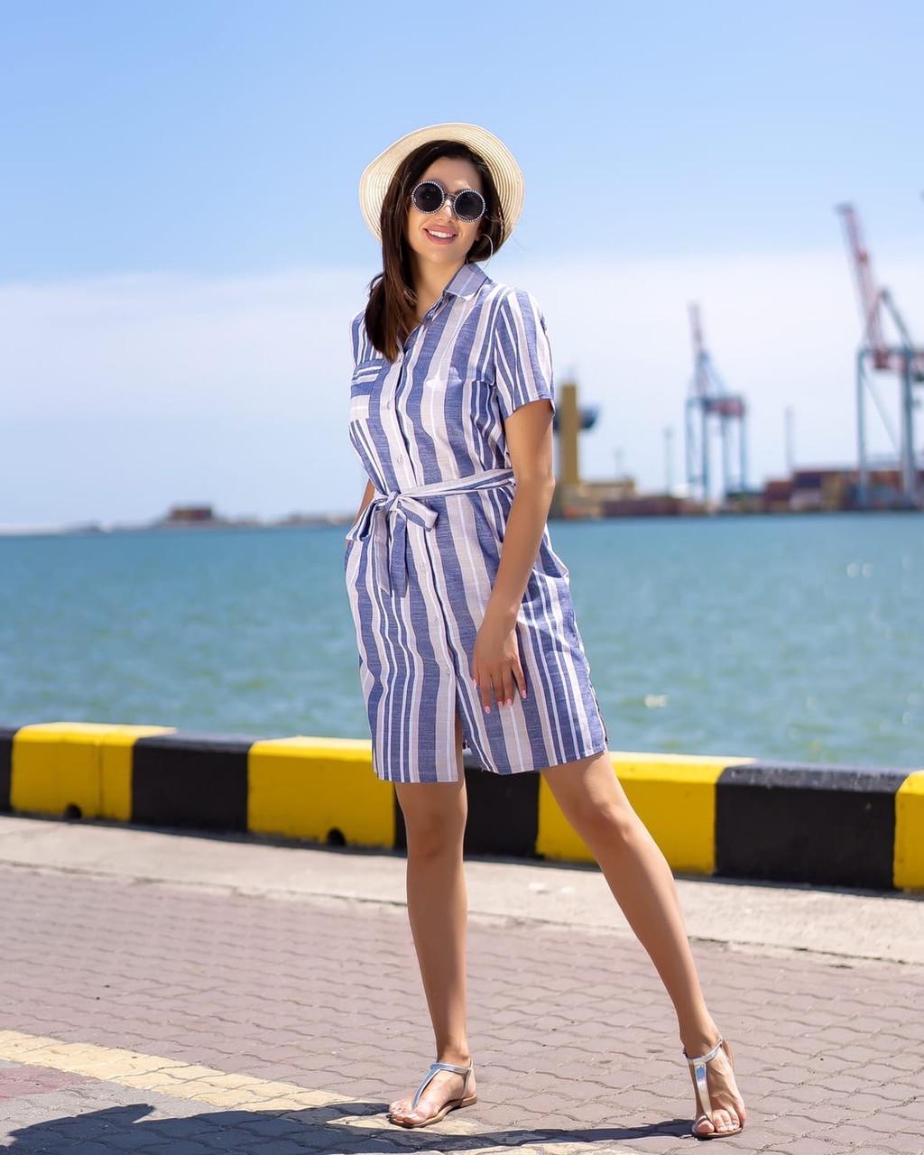 Сорочка-туніка, коротке плаття з тонкого льону з пояском, 3 кольори, р. 44,46,48,50 код 261Ч