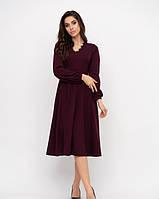 Фиолетовое трикотажное платье с отделкой из французского кружева вдоль V-образной горловины L