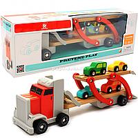Деревянная игрушка Автовоз Top Bright перевозчик 40х8х12 см (трейлер, 4 машинки) 120327