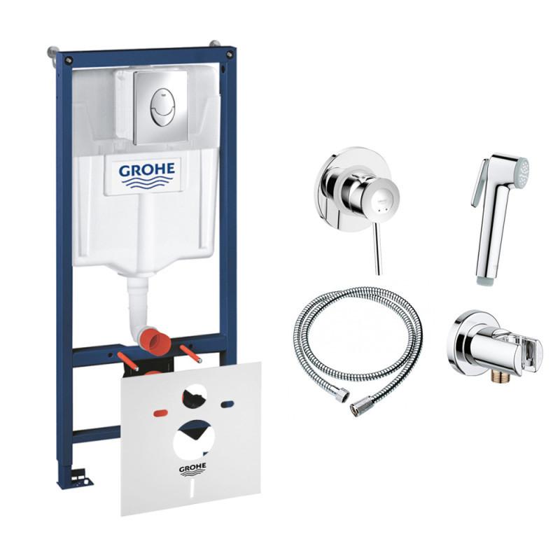 Інсталяція комплект Grohe Rapid SL 38721001 + набір для гігієнічного душу зі змішувачем BauClassic 111048