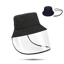 Шляпа/Панама взрослая унисекс со съемной защитой(на липучке), чёрная