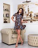 Летнее мини платье на запах цветочного принта из тонкой ткани софт, 2 цветов, р.42,44,46,48, код 256Ч, фото 4