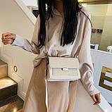 Сумка жіноча стильна з екошкіри із замшевою вставкою і двома знімними плечовими ременями (Сірий), фото 2