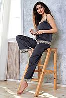 Женская шелковая пижама с кружевом. Майка и штаны. Графитовая (темно-серая)