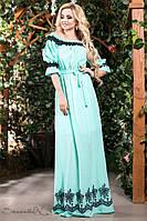 Летнее платье в пол длинное с черным узором и открытыми плечами, голубое, фото 1