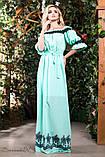 Летнее платье в пол длинное с черным узором и открытыми плечами, голубое, фото 3