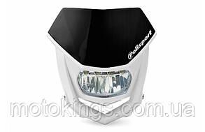 POLISPORT  ФОНАРЬ  ПЕРЕДНИЙ МОДЕЛЬ HALO LED (ЛАМПОЧКА LED - 12V) ЧЕРНЫЙ ЦВЕТ /БЕЛЫЙ (8667100002)