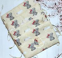 Защита - бортики на детскую кроватку из 4-х частей, Мишки Тэдди, песочный