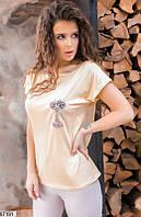 Футболка женская летняя турецкая вискоза/камни размер 42-46 универсальный Турция,цвет желтый