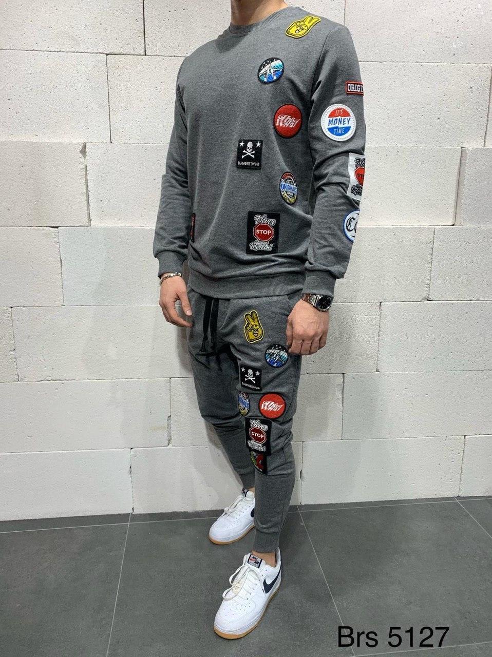 😜 Спортивный костюм - мужской спортивный костюм с нашивками (серый)
