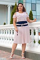 Красивая шелковая плиссированная женская юбка по колено размеры 48-58 арт 8688