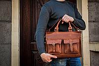 Коричневая кожаная сумка для документов, Мужская кожаная сумка для ноутбука