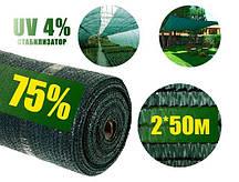 Затіняюча сітка 75% 2*50 м темно зелена