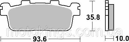SBS ТОРМОЗНЫЕ КОЛОДКИ    KH607 MAXI КАРБОН   КАРБОН   TECH ЧЕРНЫЙ ЦВЕТ  KYMCO 125/250/300, YAMAHA YP400 X-MAX ЗАДНИЕ (195CT)