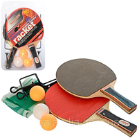 Ракетка для настольного тенниса MS 3098 2 шт., EVA / резина, 3 шарика, бесшов., Сетка, блистер