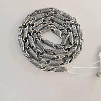 Серебряная цепь, черненная, с орнаментом Фабио 55 см