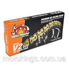 MOTO-MASTER ЦЕПЬ  V2-420G MX RACING GOLD CHAIN REGULAR ЦВЕТ ЗОЛОТОЙ (130 УЗЛОВ, ЗАСТЕЖКА В КОМПЛЕКТЕ)