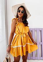 Платье летнее горчица, розовое, голубое 42-46