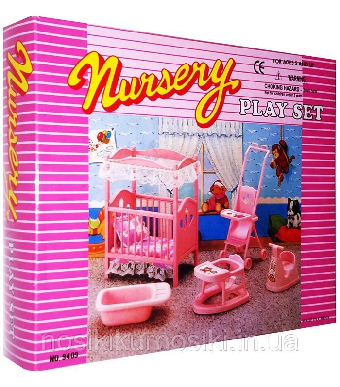 Кукольная мебель Gloria Глория 9409 Детская комната - кроватка, коляска, ходунки