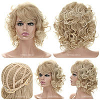 Кудрявый парик Melinda AT термоволосы 180 , мелирование, цвет блондинка, пшеничный оттенок