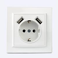 ElectroHouse Розетка USB двойная + розетка с\з Enzo EH-5321