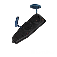 ElectroHouse Каучуковая колодка на два гнезда с заземлением и крышкой  16A IP 44 Garant